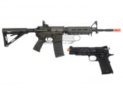 King Arms Full Metal S&W M4 AEG MOE Carbine and Blackwater CO2 1911A1 Blow Back Airsoft Gun Battle Package (2 Guns)
