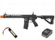 "G&G Combat Machine GC16 Wild Hog 12"" Keymod M4 Carbine AEG Airsoft Gun LiPo Battery & Charger Package (Black)"
