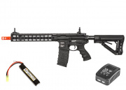 "G&G GC16 Warthog 12"" KeyMod M4 Carbine AEG Airsoft Gun LiPo Battery & Charger Package (Black)"