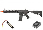 "G&G Combat Machine GC16 MPW 12"" Keymod M4 Carbine AEG Airsoft Gun LiPo Battery & Charger Package (Black)"