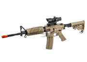 Combat Machine M4 Carbine AEG Tan/AMP Combat Red/Green Dot Scope Airsoft Gun Package Deal