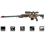 Action Army Full Metal AAC-21 Gas Sniper Rifle Airsoft Gun (No Rails) (FDE)