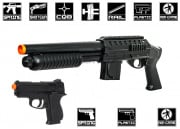 Mossberg Tactical Kit 590 Shotgun with LE Stock & .45 Pistol Airsoft Gun Licensed by Cybergun