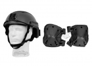 Lancer Tactical FAST Helmet (BLK) w/ Pantac USA 1000D Cordura X-Force Knee Pad (Black) Package