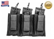 Tactical Assault Gear Triple MOLLE Shingle Pistol Enhanced Mag Pouch (BLK)