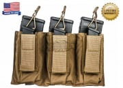 Tactical Assault Gear Triple MOLLE Shingle Pistol Enhanced Mag Pouch (COY)