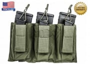 Tactical Assault Gear Triple MOLLE Shingle Pistol Enhanced Mag Pouch (Ranger Green)