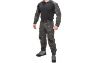 Lancer Tactical CA-2760MB-L Combat Tactical Uniform Set (Camo Black/Large)