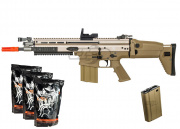 WE Full Metal SCAR-H MK17 CQC AEG Airsoft Gun (Tan) *AIM Pack*
