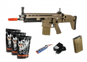 WE Full Metal SCAR-H MK17 CQC AEG Airsoft Gun (Tan) * Power Pack *