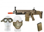 WE Full Metal SCAR-H MK17 CQC AEG Airsoft Gun (Tan) * Protection Pack *