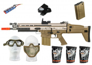 WE Full Metal SCAR-H MK17 CQC AEG Airsoft Gun (Tan) * Super Pack *