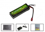 Modify 11.1v 1500mAh Li-Po Battery w/ Deans Plugs Battery Package (Battery, Charger & Liposack)