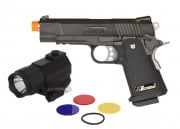 WE Full Metal Hi-Capa 4.3 Compact Elite Airsoft Gun w/ AIM Sports 150 Lumens Sub-Compact Flashlight Package