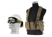 Airsoft GI BCT-3 M4/AK Ammo Chest Rig w/ Lancer Tactical CA-211T Goggles Package (Tan)