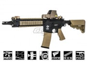 Combat Machine MK18 MOD1 AEG Rifle Airsoft Gun (Black Body/Tan)