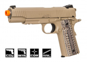 Colt M45A1 Full Metal Rail Gun 1911 CO2 Blowback Airsoft Gun (Desert Sand)