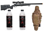 FN Herstal SPR A5M Airsoft Gun W/ Scope Sniper Travel Package 1 (Tan)