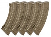 King Arms AK Waffle 110 rd. AEG Mid Capacity Magazine 5 Pack ( Flat Dark Earth )