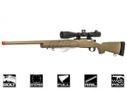 Lancer Tactical Full Metal M24 Bolt Action Spring Powered Sniper Rifle Airsoft Gun (Dark Earth/Fluted Barrel)