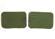 Lancer Tactical Rubber U.S. Flag Patch Set (Forward + Reverse/OD Green)