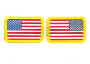 Lancer Tactical Rubber U.S. Flag Patch Set (Forward + Reverse/White-Blue)