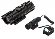 NcSTAR 3RS Tri-Railed Sight Set (Green Laser, Micro Green Dot Sight, Railed Mil Dot Scope)