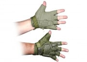 V-Tac Armored Half Finger Gloves (OD/Medium - Large)