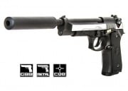 WE Full Metal M9 Long Barrel/Military Spec. Airsoft Gun (Silver)