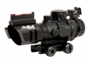 AIM Sports Fiber Optic 4x32 Red/Green/Blue Dot Tactical Compact Scope w/ Arrow Reticle