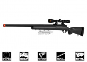 Javelin Airsoft Works M24 Bolt Action Sniper Rifle Airsoft Gun - Scope Package (Black)