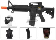Lancer Tactical LT01B M4 Commando Carbine AEG Airsoft Gun Gold Combo Pack (Black)