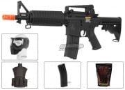 Lancer Tactical LT01B M4 Commando Carbine AEG Airsoft Gun Platinum Combo Pack ( Black )