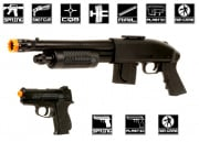 Mossberg Tactical Kit 590 Shotgun with Pistol Grip & .45 Pistol Airsoft Gun Licensed by Cybergun