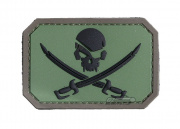MM Pirate skull PVC Patch (Forest)