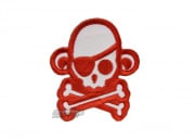 MM Skullmonkey Pirate Velcro Patch (Red/White)