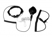 Tactical Throat Mic w/ Tactical PTT and Pneumatic Earphone