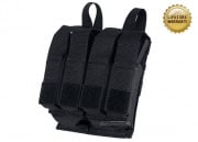 Pantac USA 1000D Cordura Molle Double M4 / M16 & Quadruple 9mm Magazine Pouch w/ Hard Inserts ( Black )