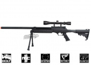 Well Full Metal MB06 Bolt Action Sniper Rifle Airsoft Gun (BLK, Bipod & Scope Package Deal)