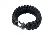 "Saved By A Thread Double Cobra Paracord Bracelet w/ Shackle (Black/7"")"