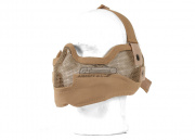 UK Arms Tactical Metal Mesh Half Mask with Ear Protection (Tan)