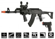 UK Arms Tactical AK-47 & Pistol Spring Powered Airsoft Guns ( 2 in 1 Package )