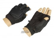 Lancer Tactical Armored Half Finger Gloves (Black/X-Large)