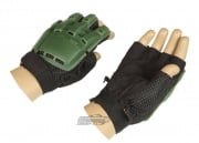 Lancer Tactical Armored Half Finger Gloves (OD/Medium)