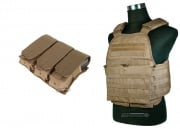 Condor Outdoor Modular Operator Plate Carrier w/ Triple M4/M16 Magazine Pouch Package (Tan)