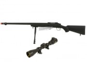 Bravo Full Metal BV7 Bolt Action Sniper Rifle Airsoft Gun w/ Nc Star 3-9x40E Illuminated Scope Package (Black)