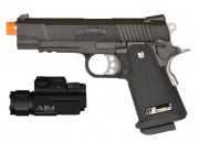 WE Full Metal Hi-Capa 4.3 Compact Elite Airsoft Gun w/ AIM Sports 150 Lumens Flashlight Package