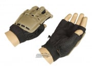 Lancer Tactical Armored Half Finger Gloves (Brown/Medium)