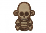 MM Stumpy Monkey Skull & Cross Bone Velcro Patch (Tan) (Discontinued)
