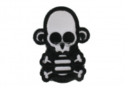 MM Stumpy Monkey Skull & Cross Bone Velcro Patch (White)